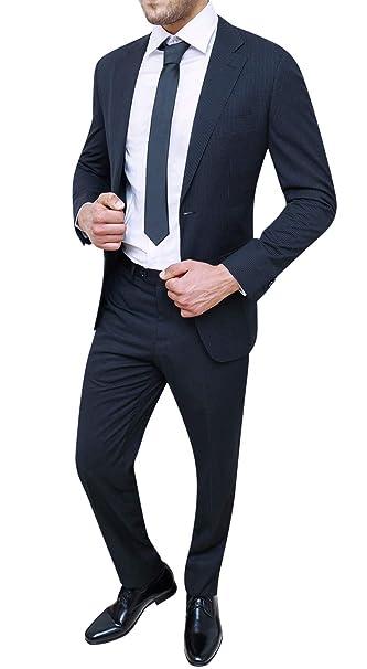 047f41f5b4b76 Evoga Abito Completo Uomo gessato Blu Sartoriale Elegante a Righe   Amazon.it  Abbigliamento
