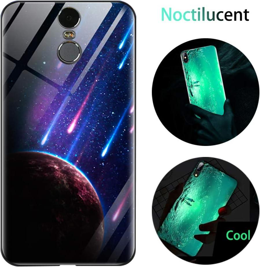 Funda Xiaomi Redmi 5 Plus, Luminosa Funda Xiaomi Redmi 5 Plus, Carcasa con Dibujos Diseño TPU y PC Trasera Cristal Proteccion Antigolpes Noctilucent Case Fluorescente Caja Meteorito