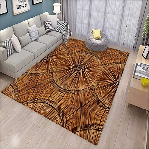 Tribal Anti-Skid Rugs Boho Bamboo Pattern Primitive Eastern Ethnic Spiritual Jagged Wood Style Artistic Print Girls Rooms Kids Rooms Nursery Decor Mats 5'x8' Ginger ()