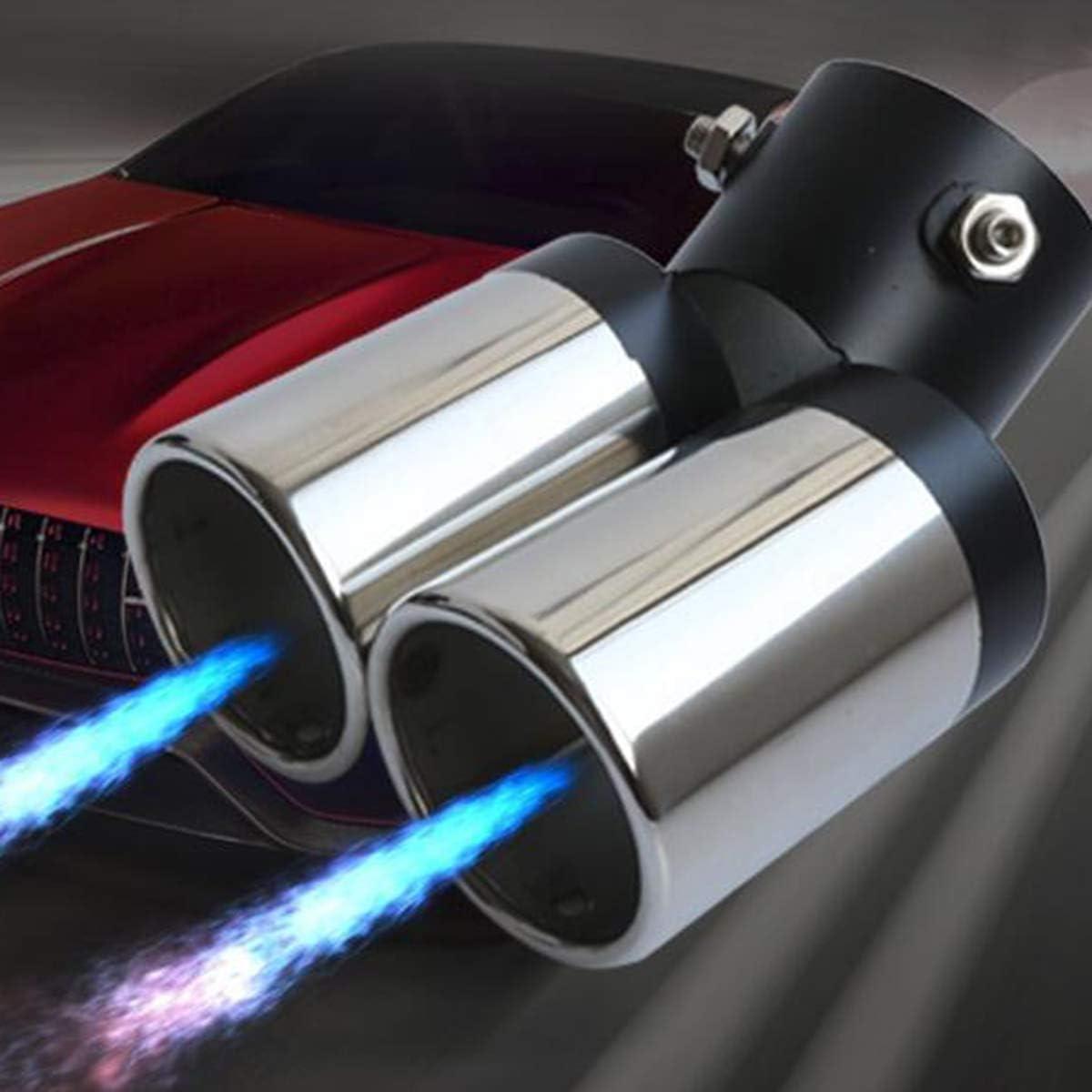 Sanon Universal Auto Fahrzeug Auspuff Edelstahl Biegen Doppelrohr Endrohr Auspuff Modifikation Auto
