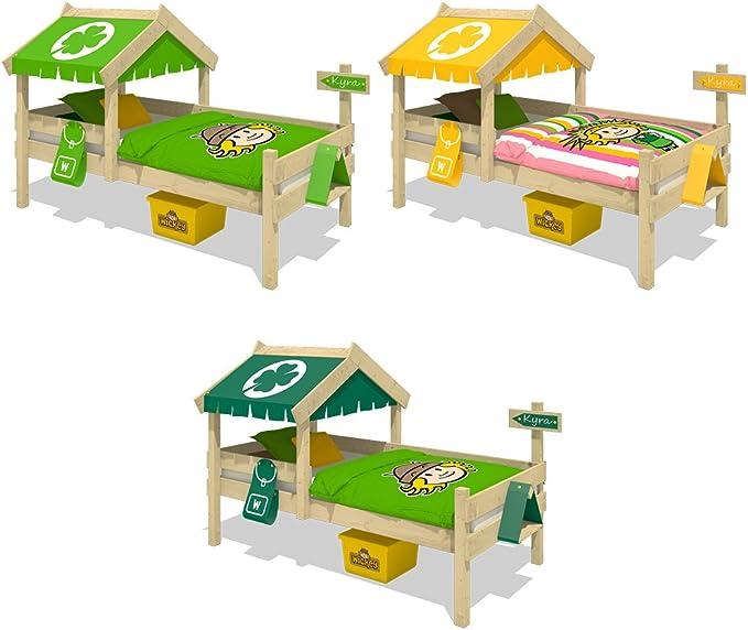 WICKEY Cama infantil CrAzY Buddy Cama individual 90x200 Cama aventuras con techo y somier de madera, amarillo