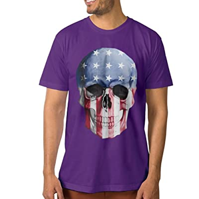 UanshanH Men's Tech Short Sleeve T-Shirt US Wind Skull Pattern Tees
