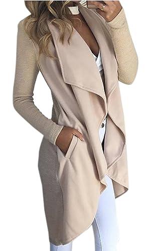La Mujer Elegante Solapa Frontal Abierto Invierno Otoño Ropa De Abrigo Clásico Trenchcoat