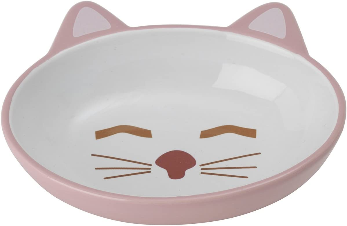 PetRageous 70658 Here Kitty 5.5-Inch Oval Cat Saucer 5.3-Ounce Pink