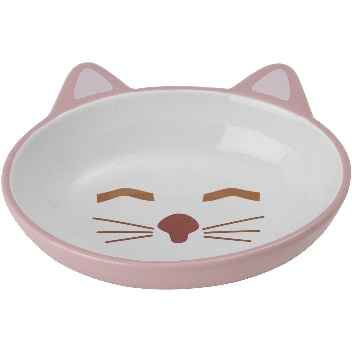 "Petrageous Designs Here Kitty 5.50"" Oval Pet Bowl, Pink & Blue Assorted"