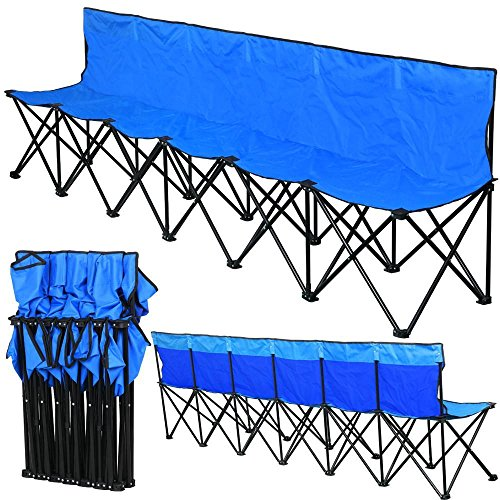 Topeakmart 600D Oxford Double Layer Fabric Folding Sport Bench for 6 People,106
