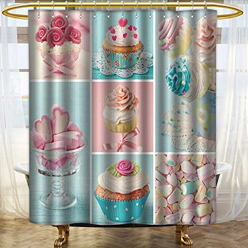 Shower Curtains Bacterial Polyester Shower Liner Pastel Colored Cupcakes and Marshmallow Collage Washable Bathroom/W66 x L72 -