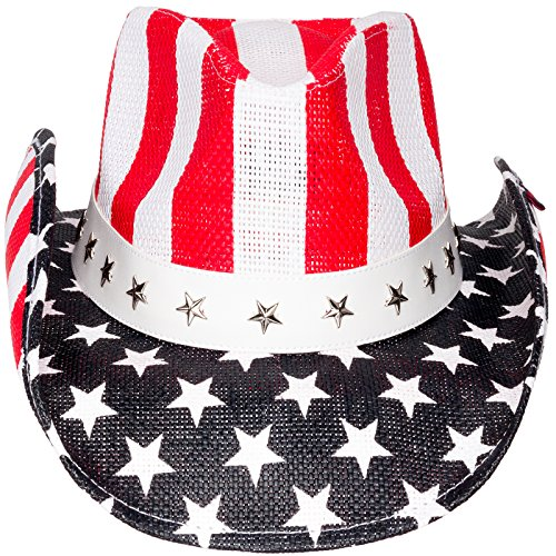 Peter Grimm Unisex Cowboy Hat (Red White & Blue, One Size) -