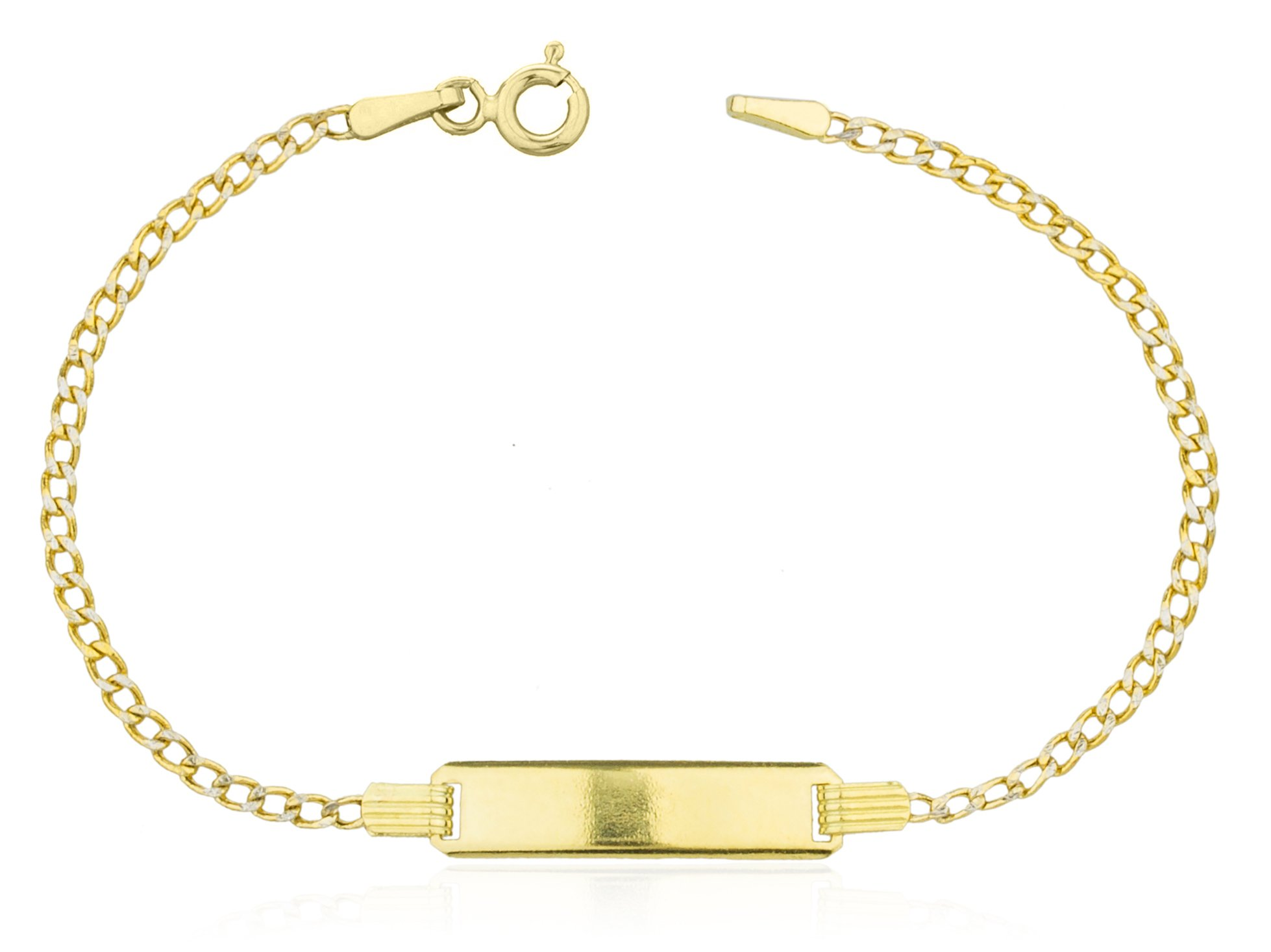 14K Gold 6 Inch Baby Id Pave Cuban Link Bracelet (GO-1810) by JOTW