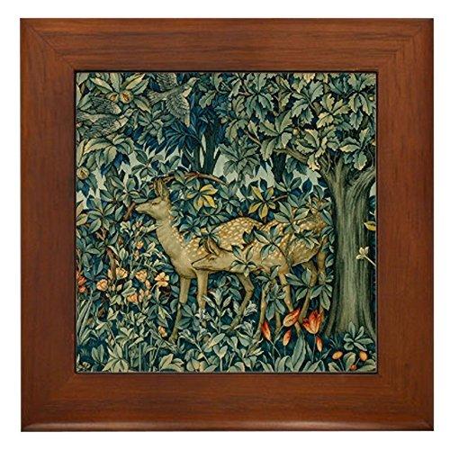 Deer Tile Framed - CafePress - William Morris Greenery - Framed Tile, Decorative Tile Wall Hanging