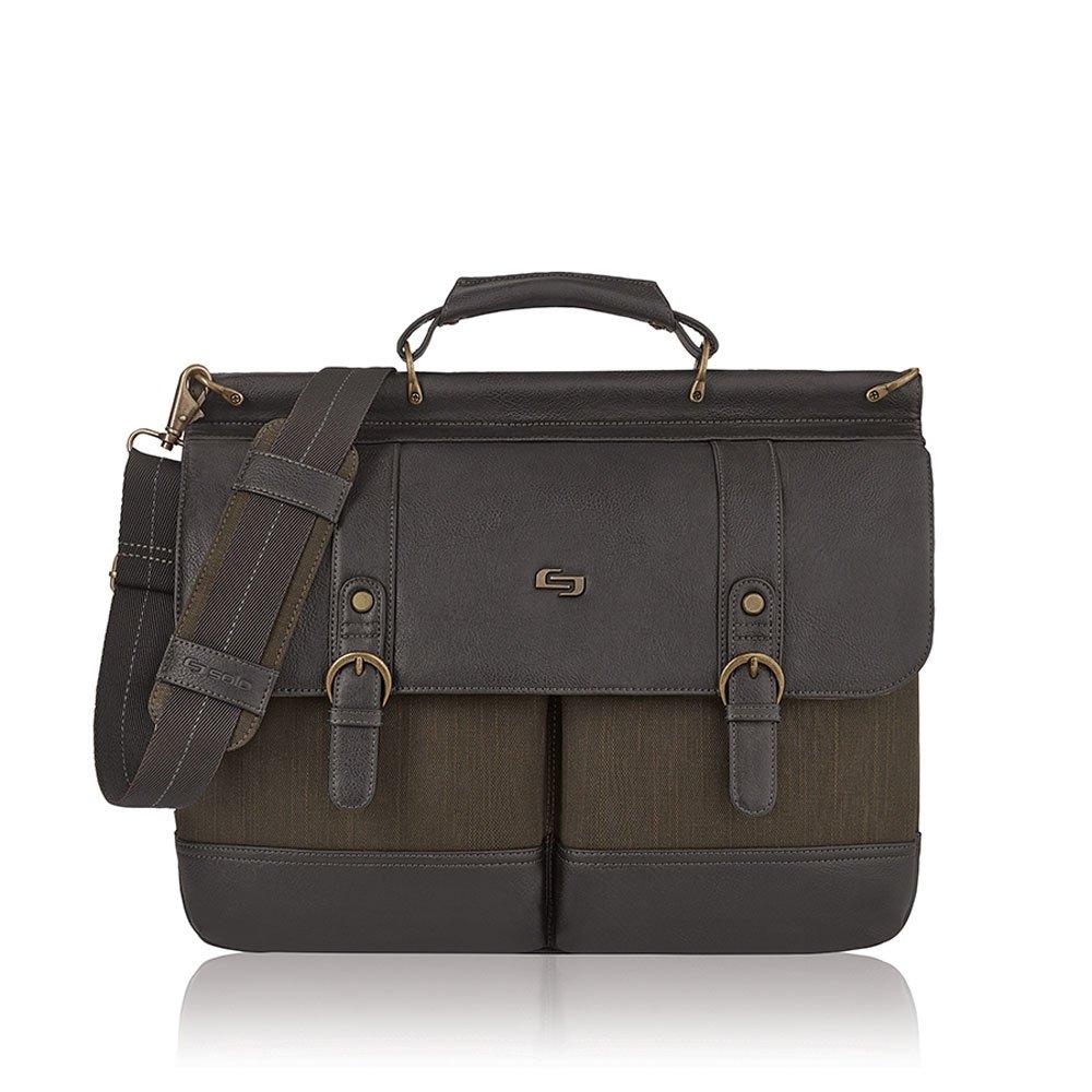 Solo Bradford 15.6in. Laptop Briefcase, Olive/Espresso