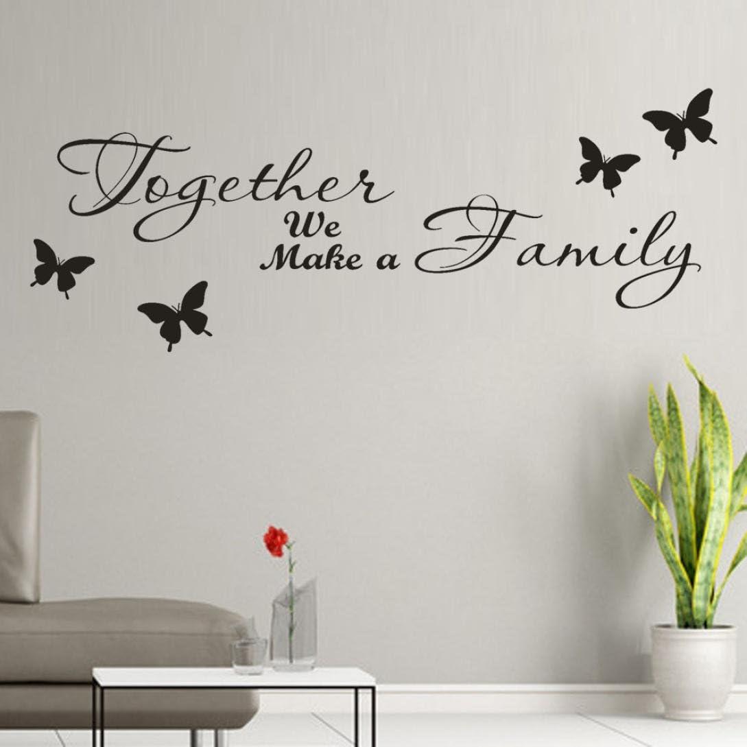 Kangkangk Together We Make a Family Removable Art Vinyl Mural Home Room Decor Kids Rooms Wall Stickers Black