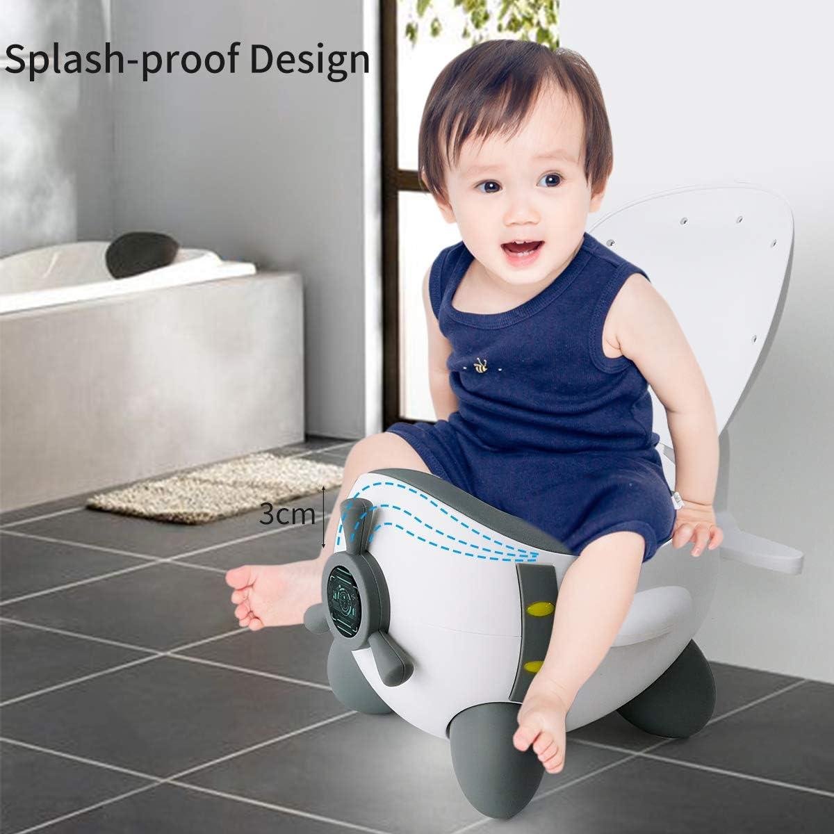 Glenmore Pot Bebe Enfant Toilette Baby avec Couvercle Ergonomique Pot DApprentissage pour Gar/çons et Filles Gris-blanc