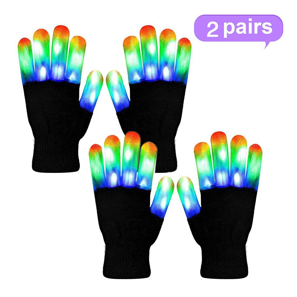 WSJDPP Glitter Gloves LED Gloves Warm Gloves Multicolor Gloves Cool Fun Toys Halloween Cosplay Props for Raves Festivals Halloween Bonfire Night Party Games Clubs - 2 Pair,Adult by WSJDPP