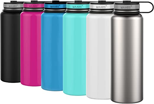 2 Pack Wide Mouth Silver Stainless Steel Sports Water Bottle 25 oz
