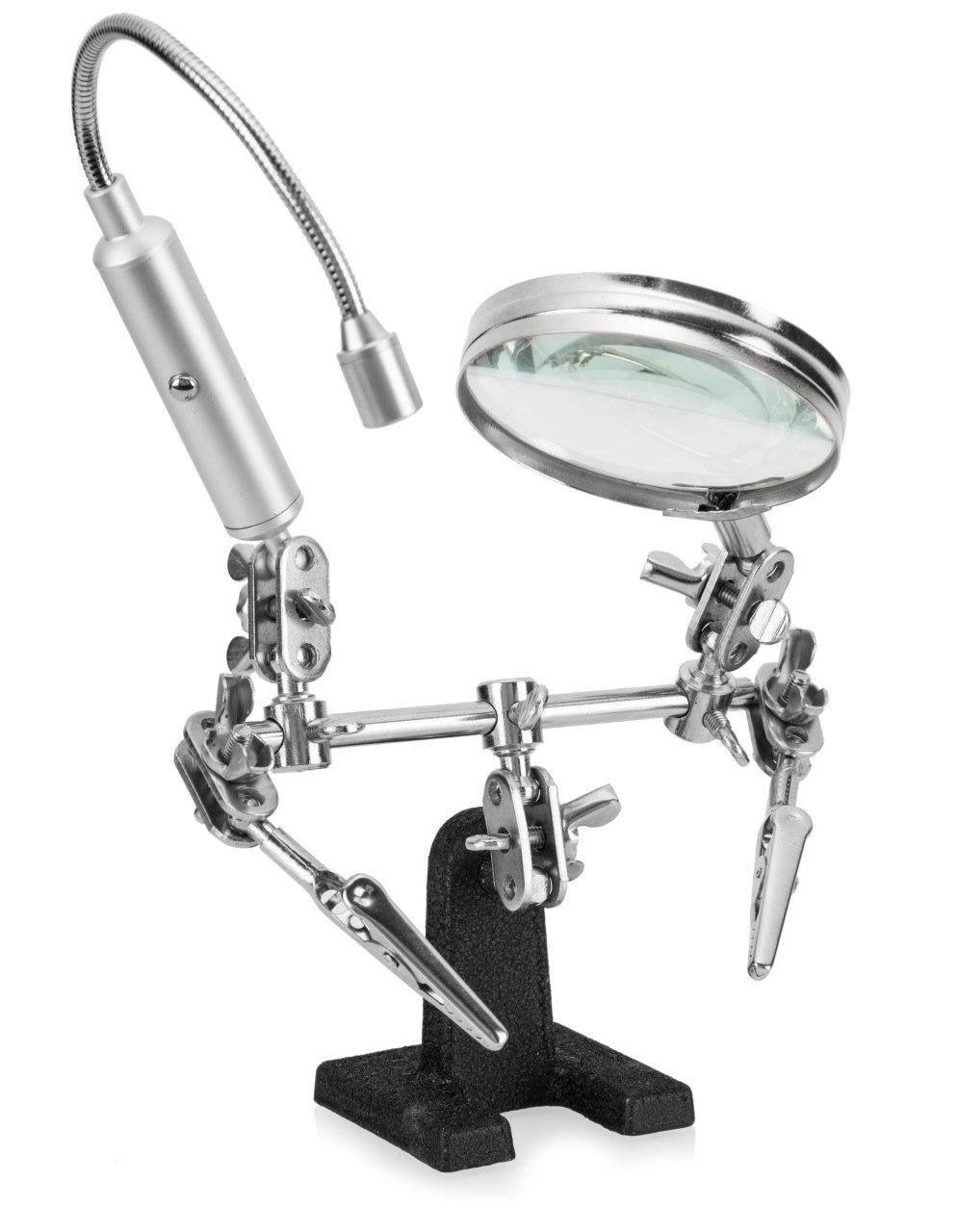 RamPro Helping Hand Magnifier Glass Stand with Flexible Neck LED Flashlight & Alligator Clips – 3x Magnifying Lens, Perfect for Soldering, Crafting & Inspecting Micro Objects (Batteries Included)