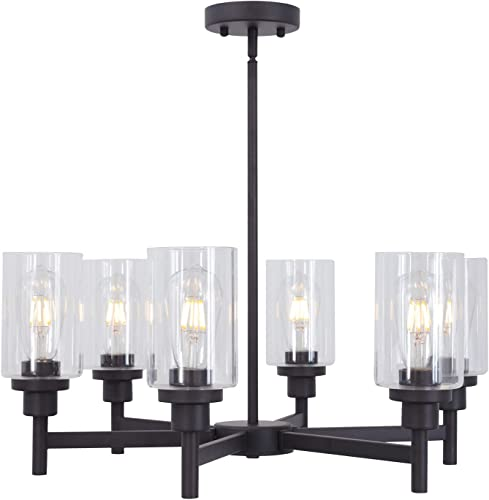 VINLUZ 6 Light Industrial Chandelier Black Pendant Lighting Hanging Fixture