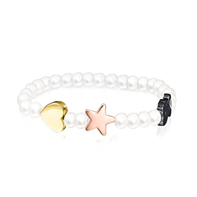TOUS Sweet Dolls Freshwater Cultured Pearl and Motifs Bracelet: Jewelry