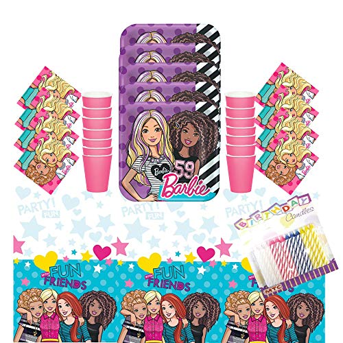 (Lobyn Value Pack Barbie & Friends Party Plates Napkins Cups and Table Cover Serves 16 with Birthday Candles - Barbie Birthday Party Supplies Pack (Deluxe Bundle for)