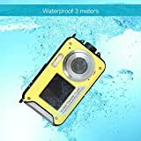 Amkov 24MP Underwater, Shockproof and Dustproof Digital Camera with Dual Full-color LCD Displays, 16X Digital Zoom, and Fully Waterproof for up to 10 Feet(Yellow)