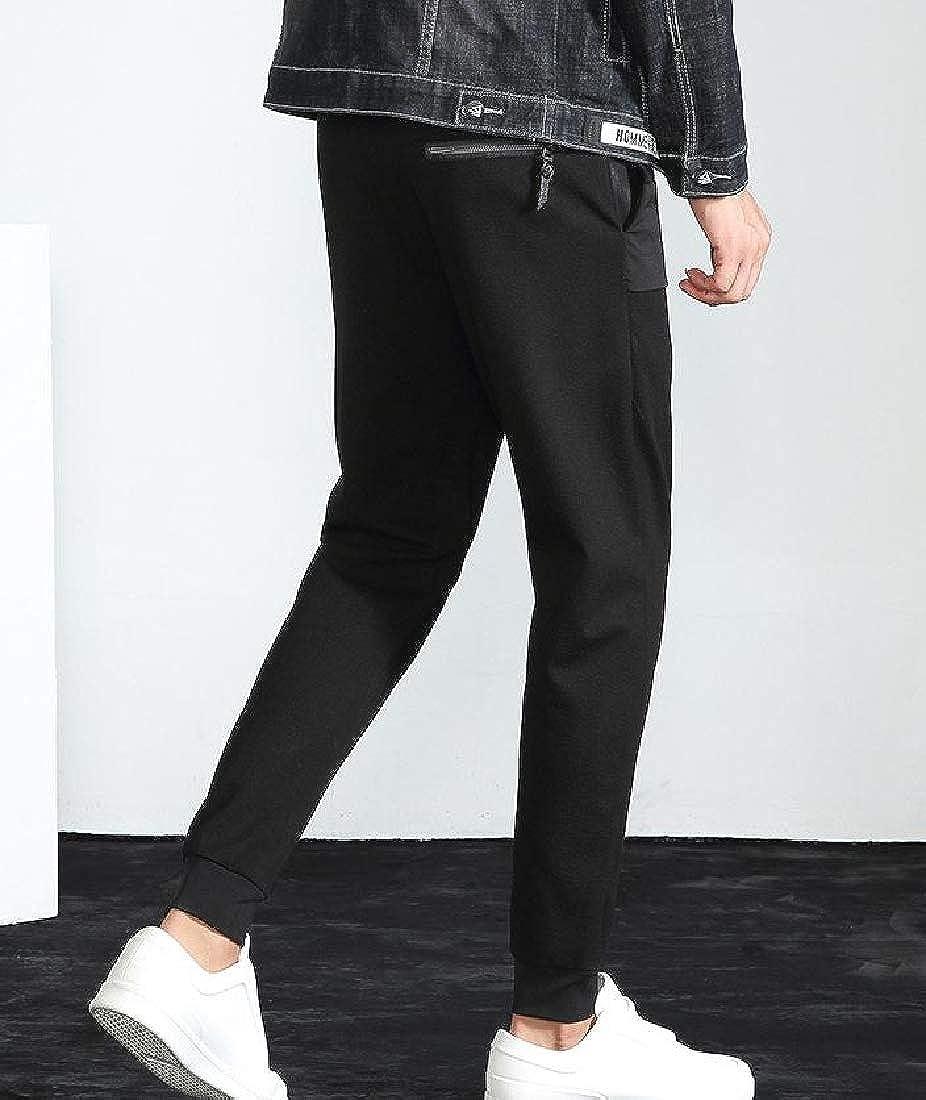 Vska Men Loose Tenths Straight Leg Slim Harem Drawstring Casual Trousers