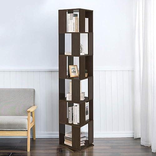 6 Tier Wooden Bookcase Corner Tall Book Shelf Modern 360 Rotating Storage Display Rack Floor Standing Shelves