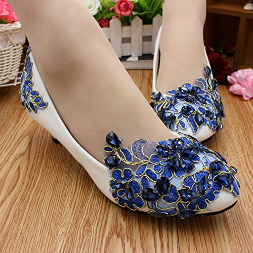 Women's Spring Rhinestones Wedding Banquet And Bridesmaid Bride Summer 3cm Heel Blue Customize Handmade Si Shoes amp; Party Height Lace Dress Decals pwq4xq5I