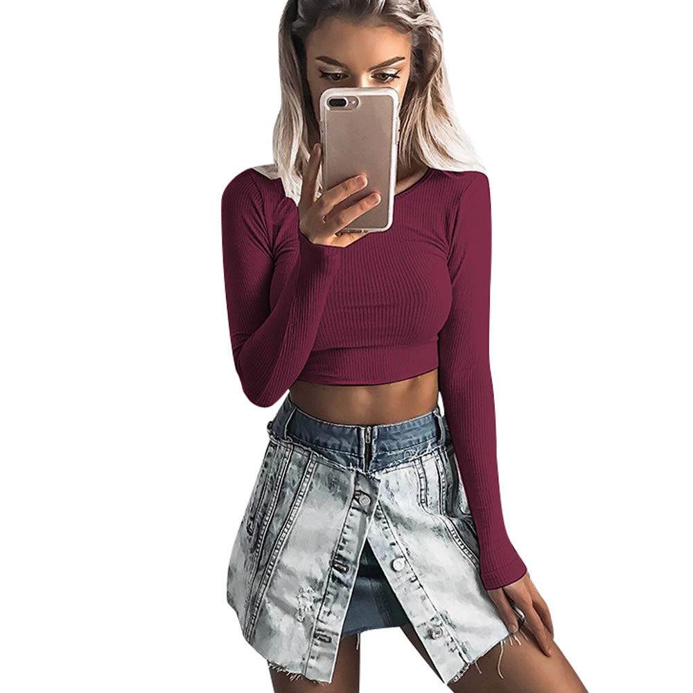 GIFC Fashion Women Long Sleeve Blouses, O-Neck Tight Elastic T-Shirt Crop Tops