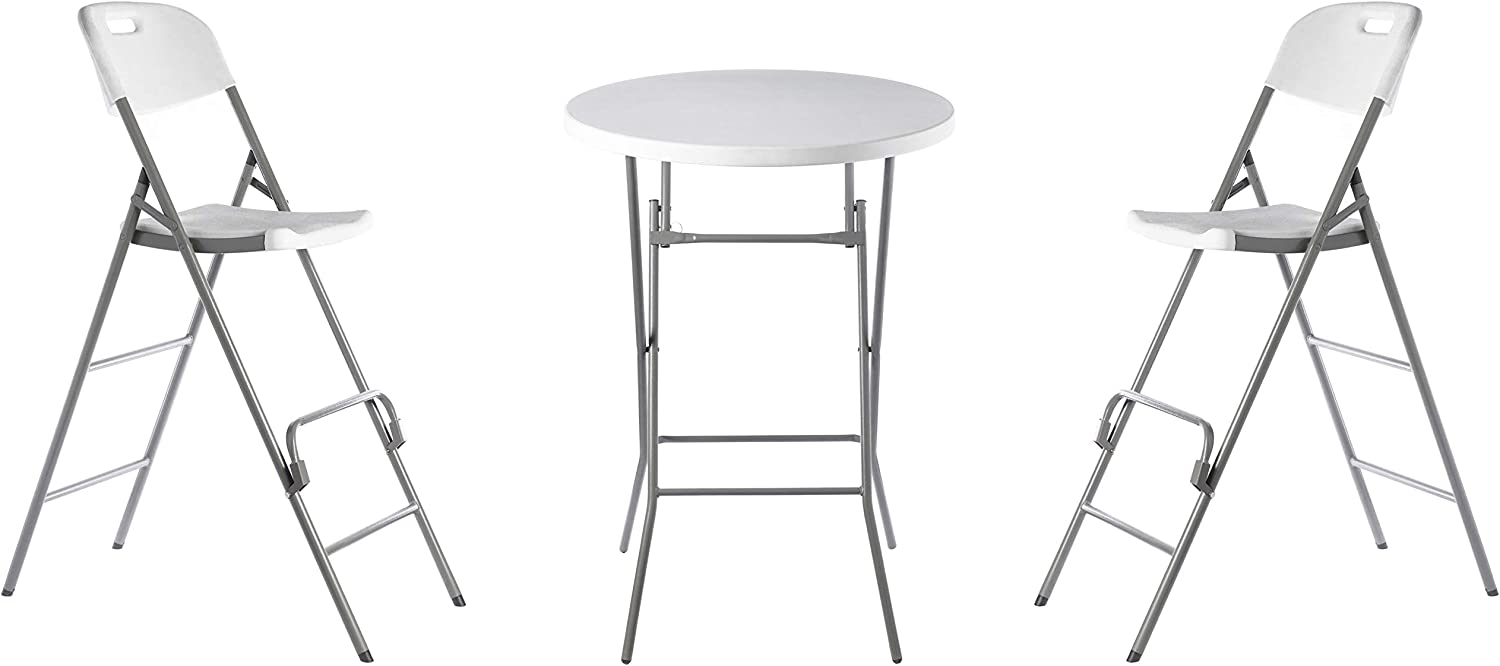 Gardenised QI003728.3 Dining Set, Round Two Indoor & Outdoor 3 Piece Foldable Bistro Patio Plastic, Set of 1 Table and 2 Chairs