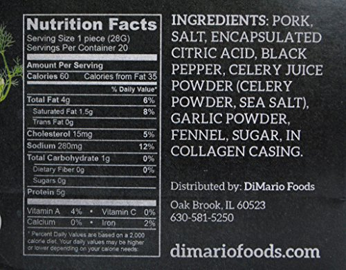DiMario All-Natural Pork Snack Stick, Garlic & Fennel, 1-ounce (Pack of 20)