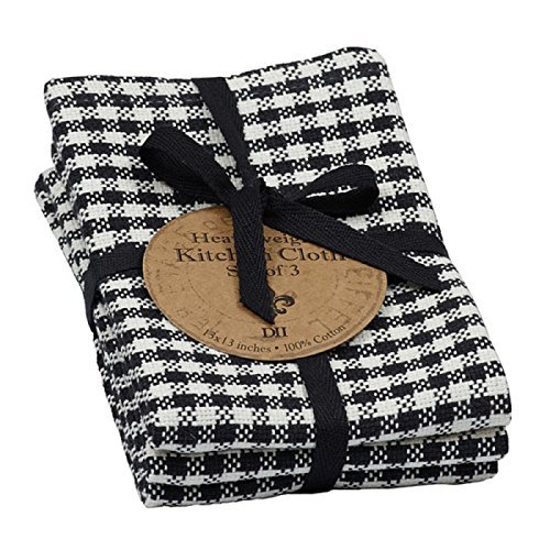 DII Design Imports Black Check Heavyweight Dishcloth Set of 3 Each measures 13 x 13