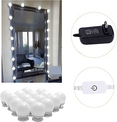 AIBOO Hollywood Style Lighted Vanity Makeup Mirror, LED Vanity Mirror Lights Kit for Dressing Table, Dimmable and Adapter Plug in, Mirror Not Included 16 Bulbs Natural White