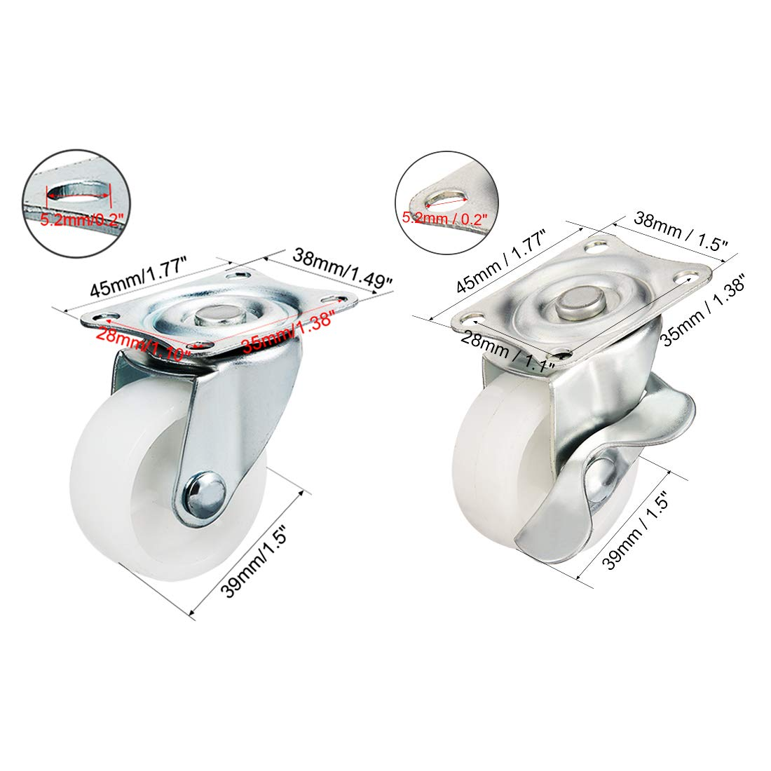 uxcell 2 Inch Swivel Caster Wheels PP 360 Degree Top Plate Mounted Caster Wheel 44lb Capacity