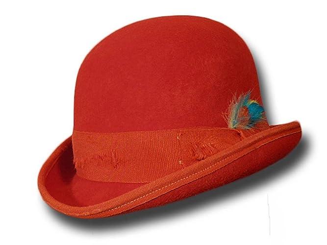 Cappello a Bombetta Western Aged rossa  Amazon.it  Handmade 58053621589a