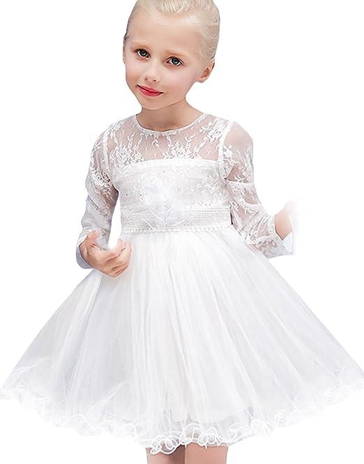 EOZY-Vestito Bimba Damigella Bambina Abito Bianco Tutu Principessa Pizzo  Battesimo  Amazon.it  Abbigliamento 808a50655c2