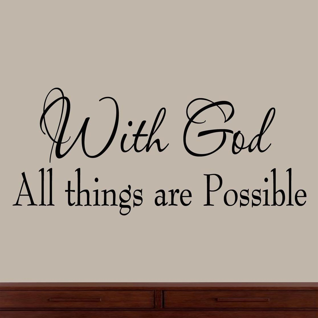 Amazon with god all things are possible faith wall decals amazon with god all things are possible faith wall decals religious quotes family scripture home decor christian vinyl wall art home kitchen amipublicfo Gallery