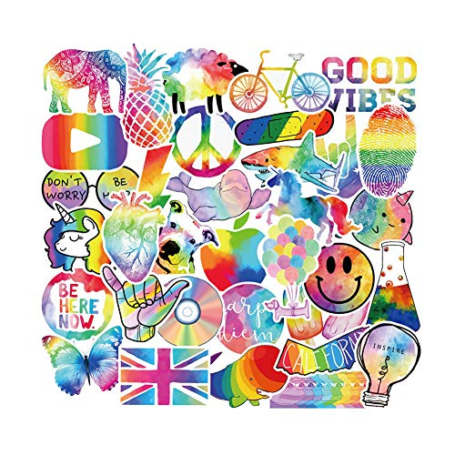 Cute Rainbow Stickers for Water Bottle Laptop, Kids Women Girls covid 19 (Rainbow Vinyl Laptop Skin coronavirus)