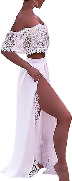 Mujer Faldas Largas+Crop Top Dos Piezas Elegante Verano Mode De ...