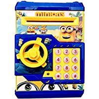SME Piggy Bank Safe Box Money Coin ATM Bank Toy ATM Machine Kids Gift Money Box Digital Saving Boxes (Minion-Blue)