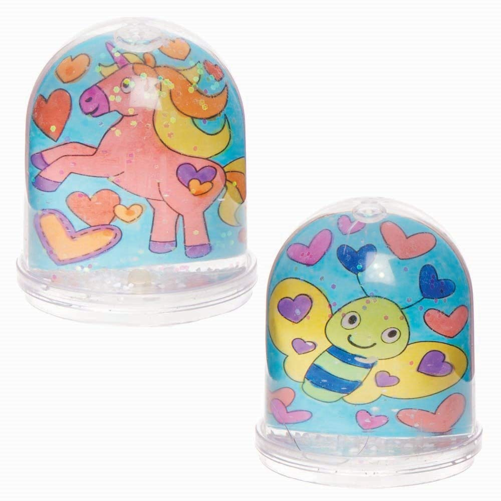 Baker Ross AX744 Heart Snow Globes Box of 4 Great for Kids Valentines Day Arts and Crafts Keepsakes and Paperweights