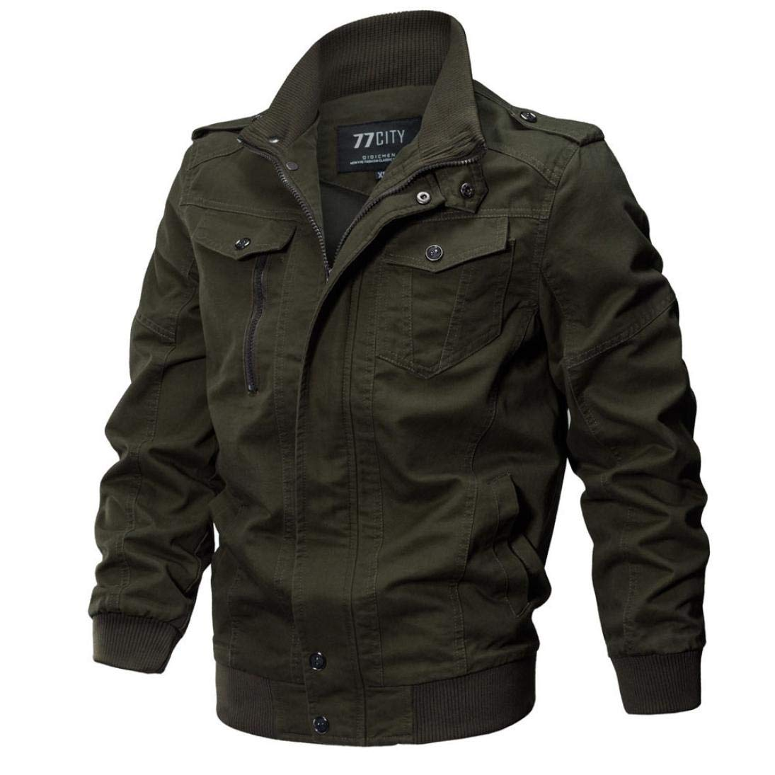 iZHH Mens Jacket Coat Military Clothing Outerwear Cotton Breathable Light