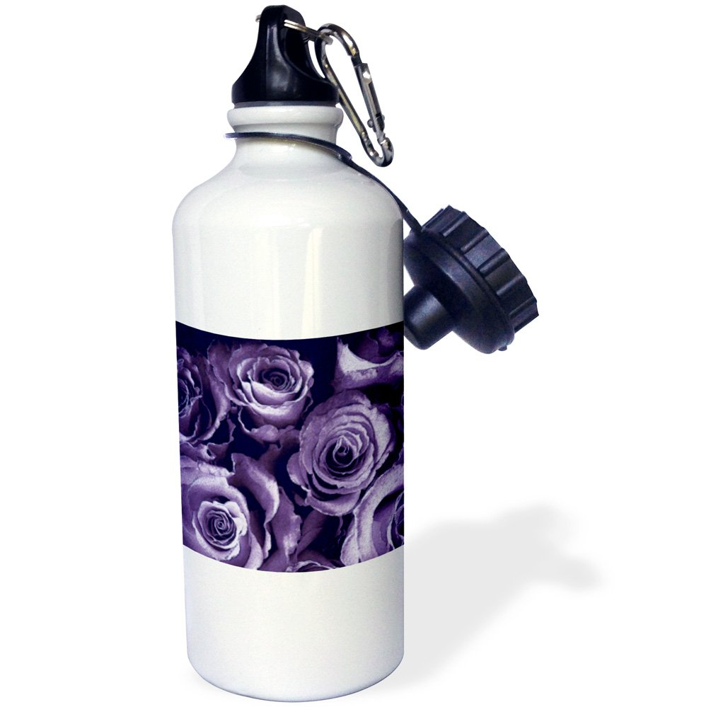 White 3dRose wb/_29873/_1 Close Up of Dreamy Muted Lavender Purple Rose Bouquet Sports Water Bottle 21 oz