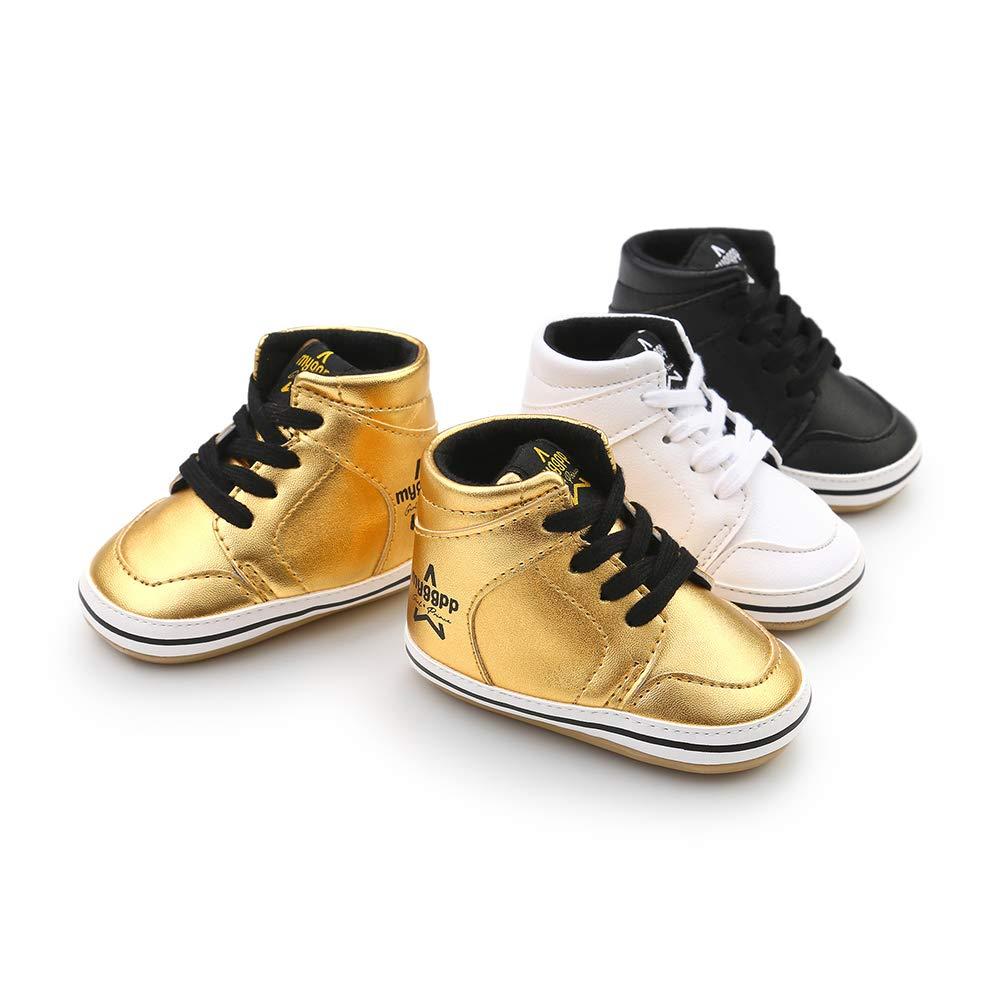 Alamana Fashion High Top Infant Baby Girl Boy Soft Anti-Slip Prewalker Toddler Shoes Gift Golden 12cm