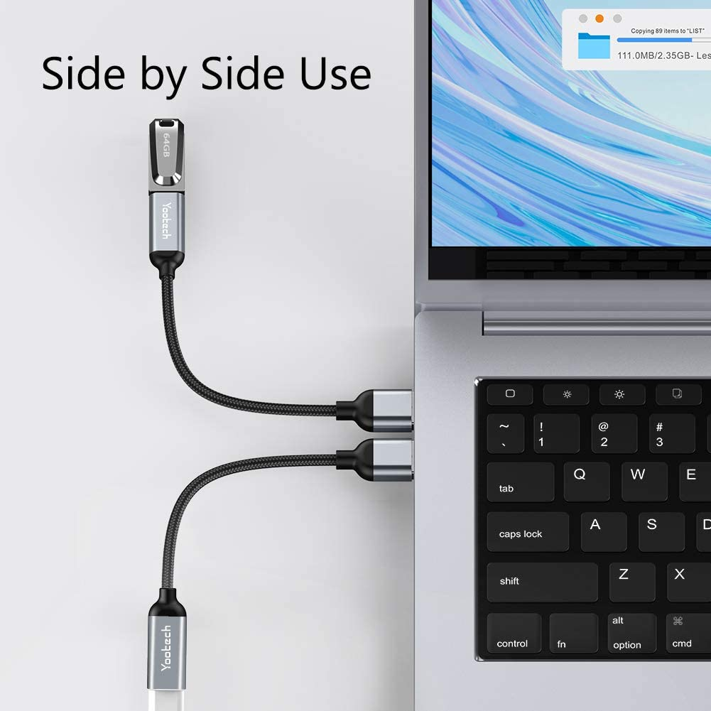 Yootech USB C Female to USB Male Adapter Chargers Compatible with Laptops Power Banks 5inch USB A to Type C Connector and More Devices with Standard USB A Ports Space Grey 2 Pack