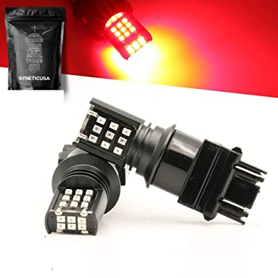 Red Flashing Strobe Blinking Rear Alert Safety Brake Tail Stop High Power LED Light Bulbs (3157, Red-Strobe): Automotive