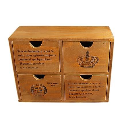 Hipsteen - Cajonera de madera estilo retro, mini cómoda ...