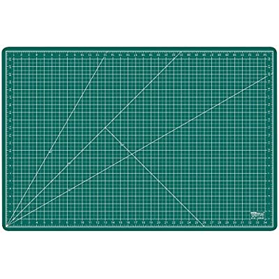 "US Art Supply 24"" x 36"" GREEN/BLACK Professional Self Healing 5-Ply Double Sided Durable Non-Slip PVC Cutting Mat Great for Scrapbooking, Quilting, Sewing and all Arts & Crafts Projects (Choose Green/Black or Pink/Blue Below)"