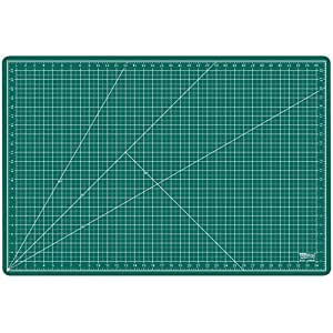 """US Art Supply 24"""" x 36"""" GREEN/BLACK Professional Self Healing 5-Ply Double Sided Durable Non-Slip PVC Cutting Mat Great for Scrapbooking, Quilting, Sewing and all Arts & Crafts Projects (Choose Green/Black or Pink/Blue Below)"""