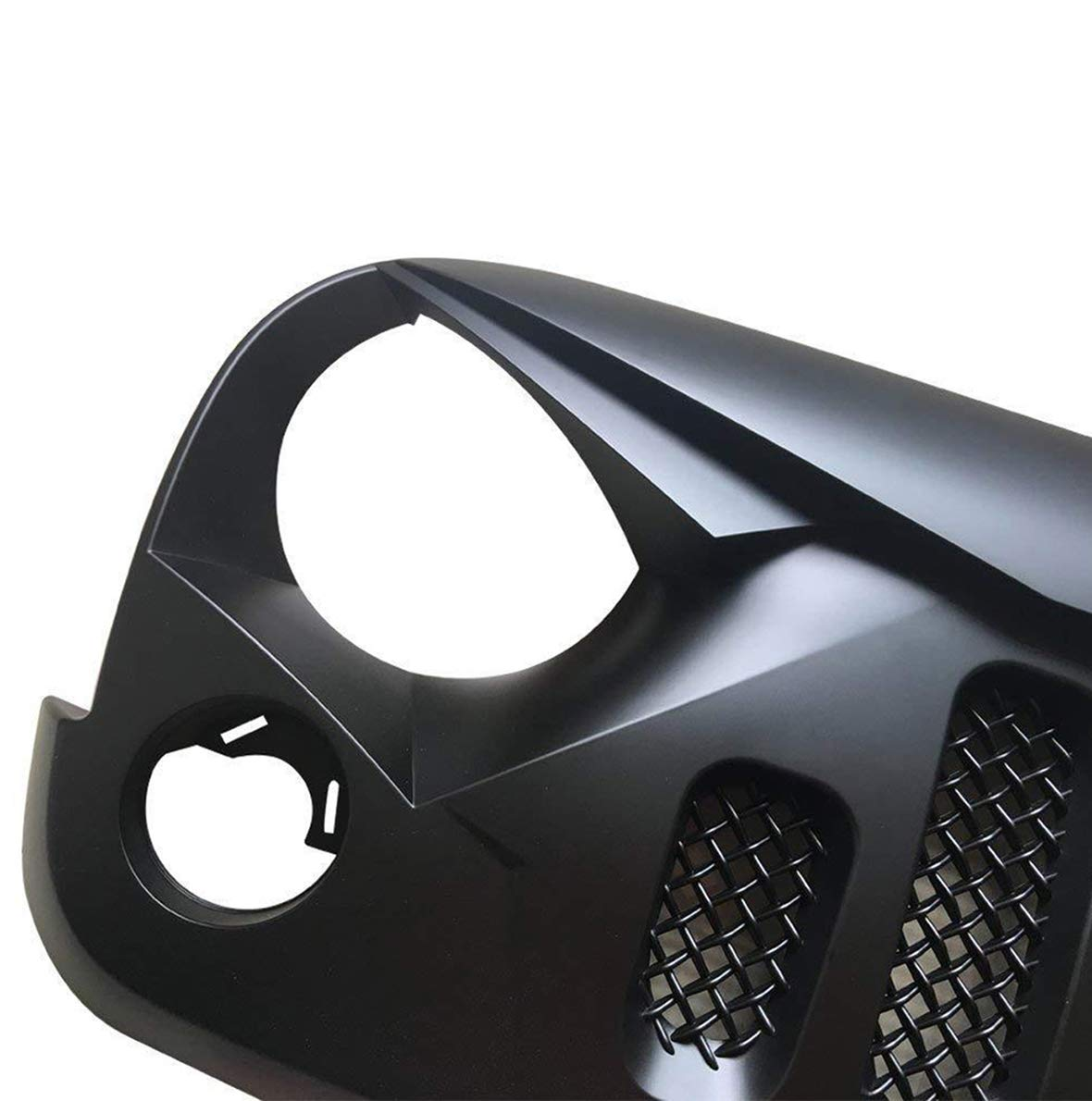Gladiator Vader Grille Front Matte Black for 2007-2017 Jeep Wrangler JK JKU Unlimited Rubicon Sahara X Off Road Sport Exterior Accessories Parts