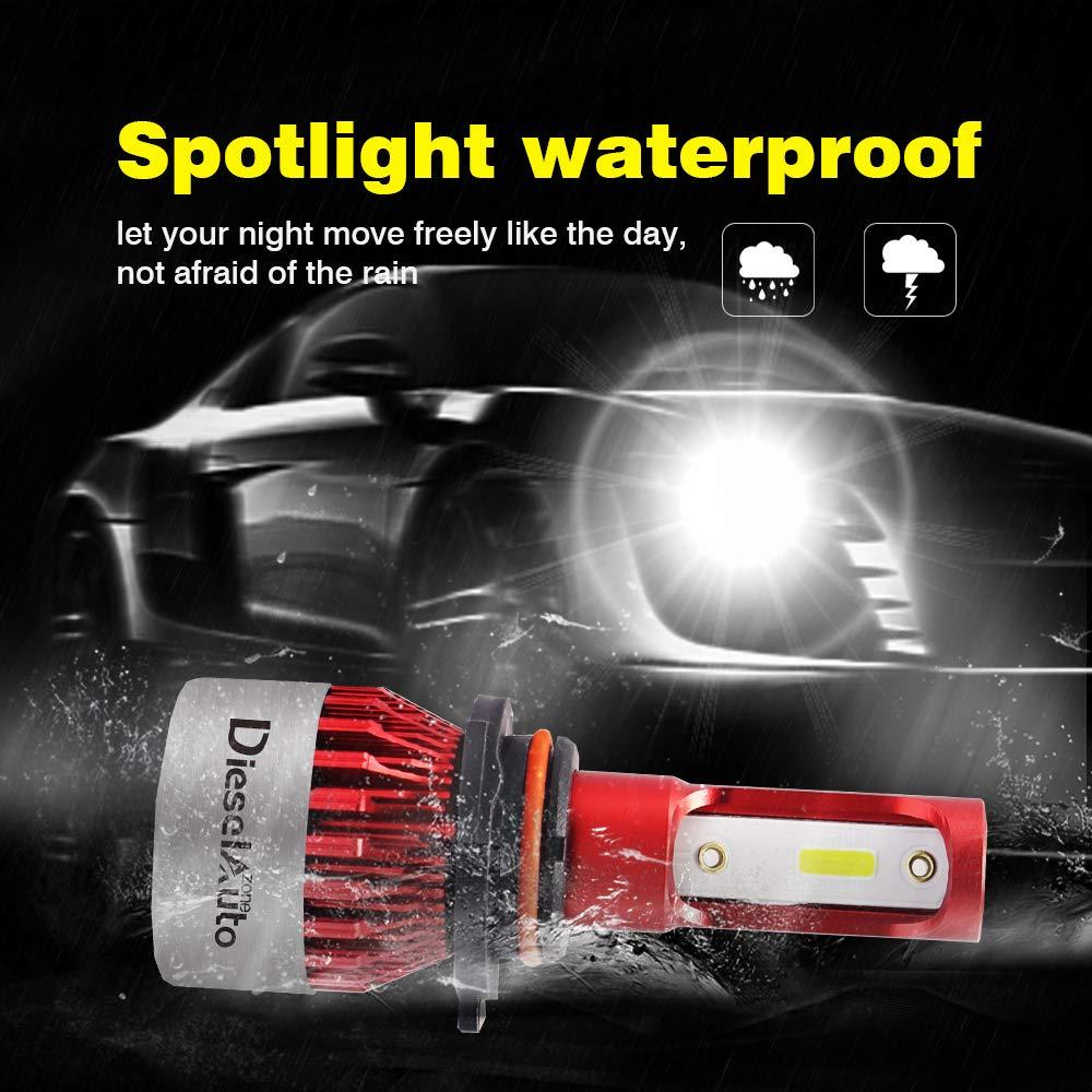 1 anni di garanzia confezione da 2 Diesel Auto Zone 9005//H10//HB3 LED Lampadine del Faro Kit 9000LM 72W 6500K Bianco Lampade Lampadine con COB Chips 12V Led Luci